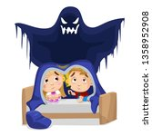 little scared boy and girl... | Shutterstock .eps vector #1358952908