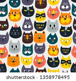 seamless pattern with cute...   Shutterstock .eps vector #1358978495