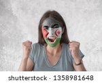 young woman with painted flag... | Shutterstock . vector #1358981648
