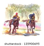 Watercolor Painting Horse Racing
