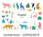 tropical exotic animals and... | Shutterstock .eps vector #1359023075