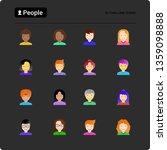 People Flat Icons Set  Smiling...