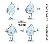 set of cute cartoon water drop... | Shutterstock .eps vector #1359152915