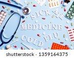 cold medicine  thermometer ...   Shutterstock . vector #1359164375