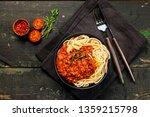 spaghetti bolognese with tomato ... | Shutterstock . vector #1359215798