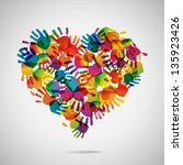 Colored Heart From Hand Print...