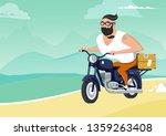 man with suitcase  hipster... | Shutterstock .eps vector #1359263408
