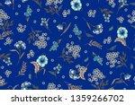 floral pattern on blue...   Shutterstock . vector #1359266702