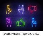 neon hand gestures icons. a set ... | Shutterstock .eps vector #1359277262