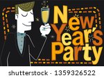 new years party  man. retro... | Shutterstock .eps vector #1359326522