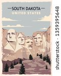 South Dakota Retro Poster. Usa...