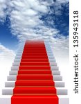 red carpet on stairs to heaven | Shutterstock . vector #135943118
