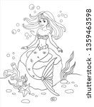 Girl Coloring Book Isolated On...