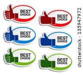 Vector best choice oval stickers with gesture hand - stock vector