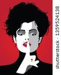 fashion woman in style pop art. | Shutterstock .eps vector #1359524138