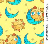 seamless pattern with sun and... | Shutterstock .eps vector #1359549278