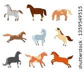 A Set Of Cute Cartoon Horses O...