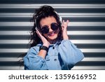 beautiful young girl with dark... | Shutterstock . vector #1359616952