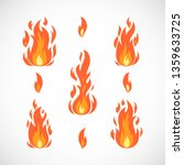 vector cartoon set of fire... | Shutterstock .eps vector #1359633725