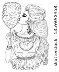 vector hand drawn young girl... | Shutterstock .eps vector #1359693458