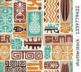 seamless exotic tiki pattern.... | Shutterstock . vector #1359779432