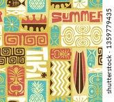 seamless exotic tiki pattern.... | Shutterstock . vector #1359779435
