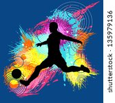 soccer football kick in bright... | Shutterstock .eps vector #135979136