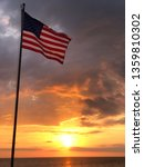 American Flag Surfing Sunset On ...