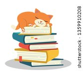 Stock vector the cute character of cat sleeping on pile of book cat sleeping pile of book lazy cat is 1359910208