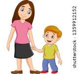 cartoon mother holding her son... | Shutterstock .eps vector #1359912152