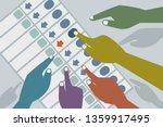 hands cast vote in an... | Shutterstock .eps vector #1359917495