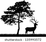 illustration with pine and deer ... | Shutterstock .eps vector #135993572