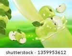 apple juice and splash. flow of ...   Shutterstock .eps vector #1359953612