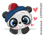 cute drawing baby panda in a... | Shutterstock .eps vector #1359955205