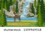 deer on the shore of a mountain ... | Shutterstock .eps vector #1359969518