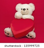 White Teddy Bear With Gift Box...
