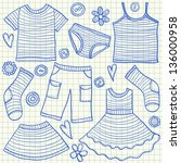 Stock vector children clothes doodles on school squared paper 136000958