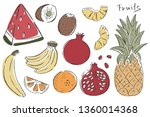 exotic fruits vector. tropical... | Shutterstock .eps vector #1360014368