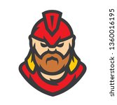spartan warrior vector cartoon... | Shutterstock .eps vector #1360016195