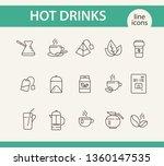 hot drinks line icon set. mug ... | Shutterstock .eps vector #1360147535