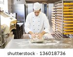 baker kneading dough in a... | Shutterstock . vector #136018736
