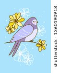 spring greeting card with cute... | Shutterstock .eps vector #1360190918