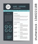 cv template design resume | Shutterstock .eps vector #1360221188
