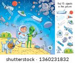 Space adventure. Astronaut makes selfie with an Alien on Mars. Shows peace sign. Find 15 objects in a picture. Interplanetary friendship. Intergalactic world. Puzzle Hidden Items. Cartoon illustration