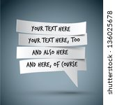 cut paper speech bubble   Shutterstock .eps vector #136025678