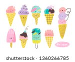 kawaii tasty ice cream. various ... | Shutterstock .eps vector #1360266785