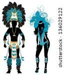 vector illustration blue couple ... | Shutterstock .eps vector #136029122