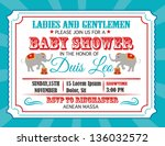 circus baby shower card design... | Shutterstock .eps vector #136032572