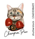 cute cat in boxing gloves and... | Shutterstock .eps vector #1360338605