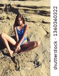 portrait of sunbathing girl...   Shutterstock . vector #1360360322